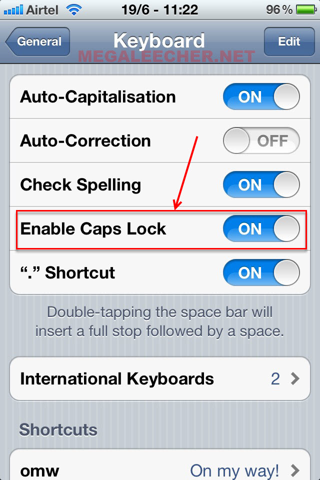 How to write in caps on ipad