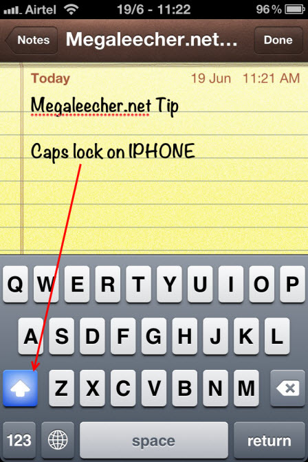 Caps Lock feature in Apple iPhone