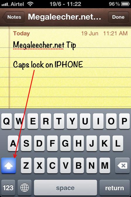 Caps Lock feature in Apple iPhone