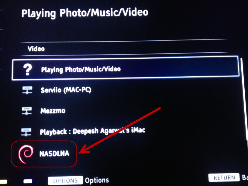DLNA server detected by Sony Bravia