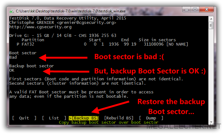 Recover FAT32 Boot Sector