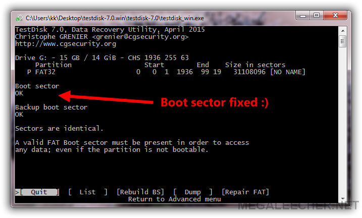 FAT32 Boot Sector Fixed