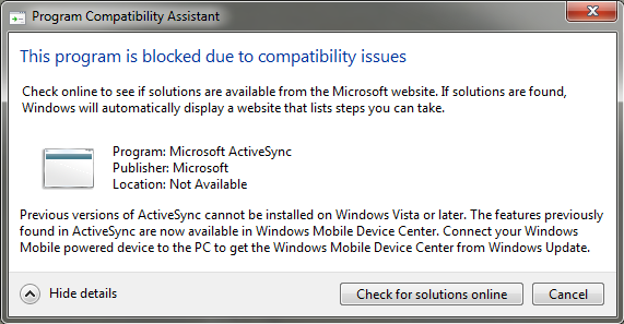 ActiveSync incompatibility with Windows 7
