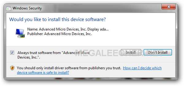 Driver installation prompt