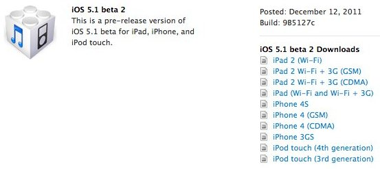 Direct Download Links For iOS 5.1 Beta 2