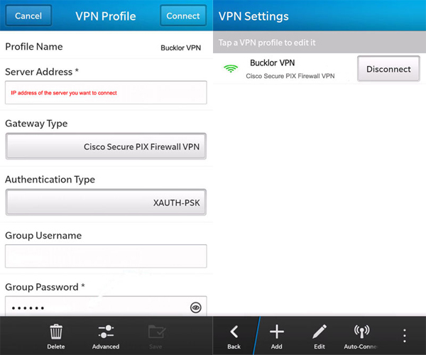 Blackberry VPN setup