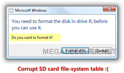 format corrupted sd card