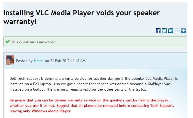 Installing Vlc Or Km Media Player Voids Your Laptop Warranty