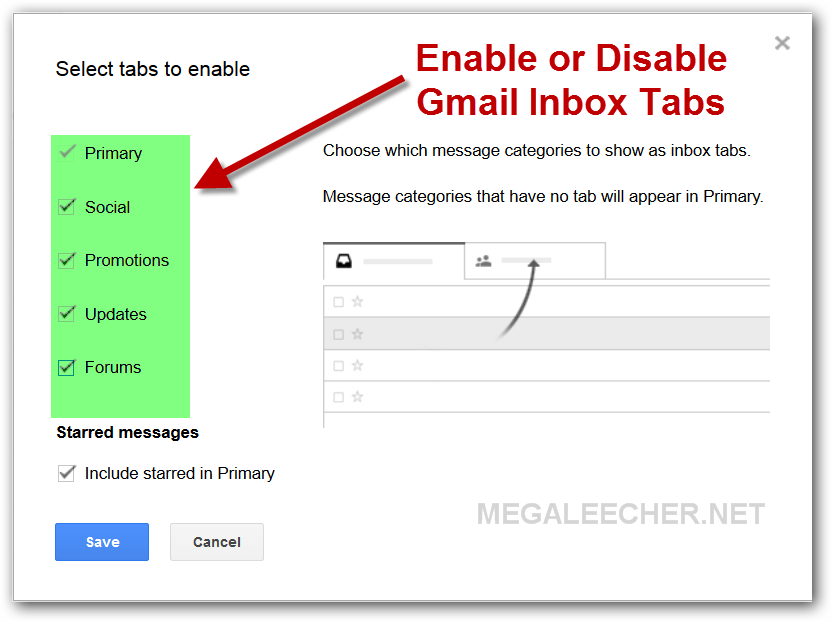Enable or disable inbox tabs for Gmail