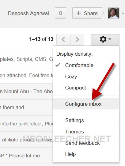 Gmail Inbox Tab Options