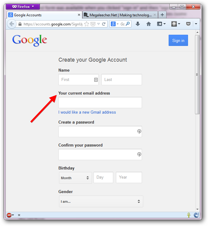 how to make default gmail account
