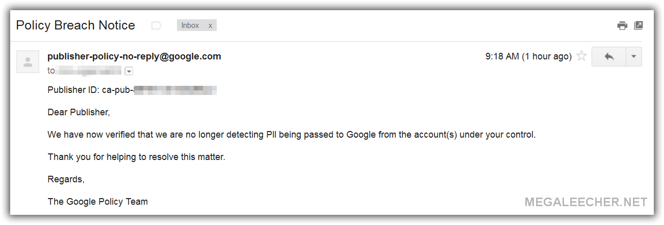 Google Adsense Personally Identifiable Information (PII) Notice