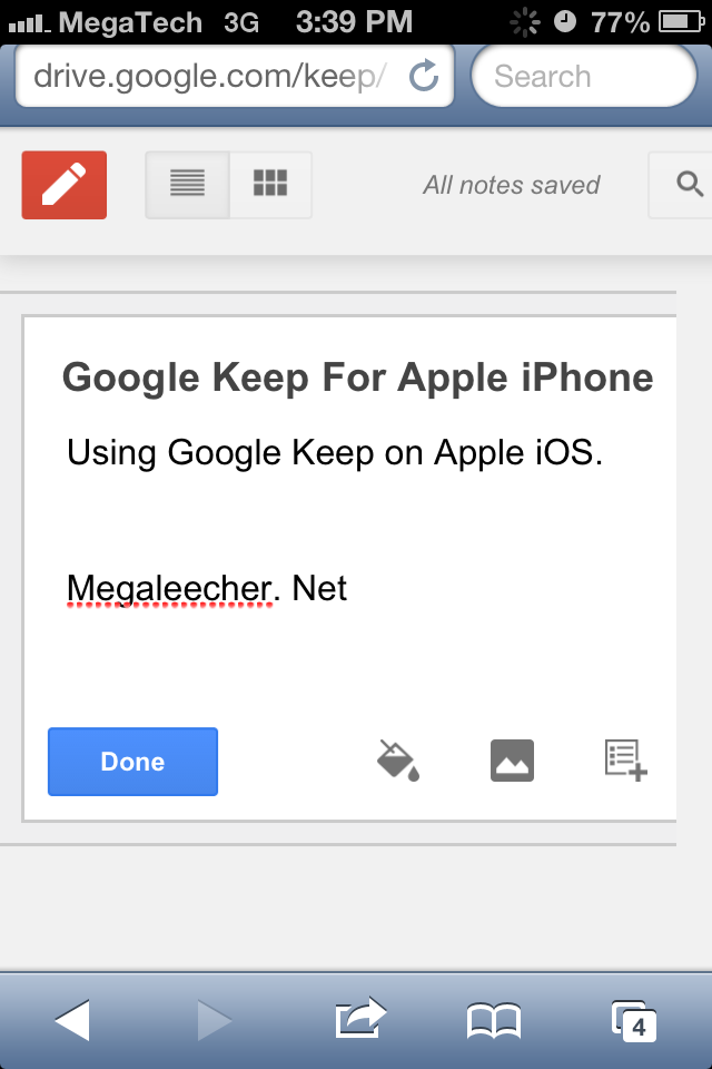 Google Keep For Apple iPhone