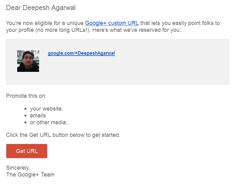 Google+ Custom URLs