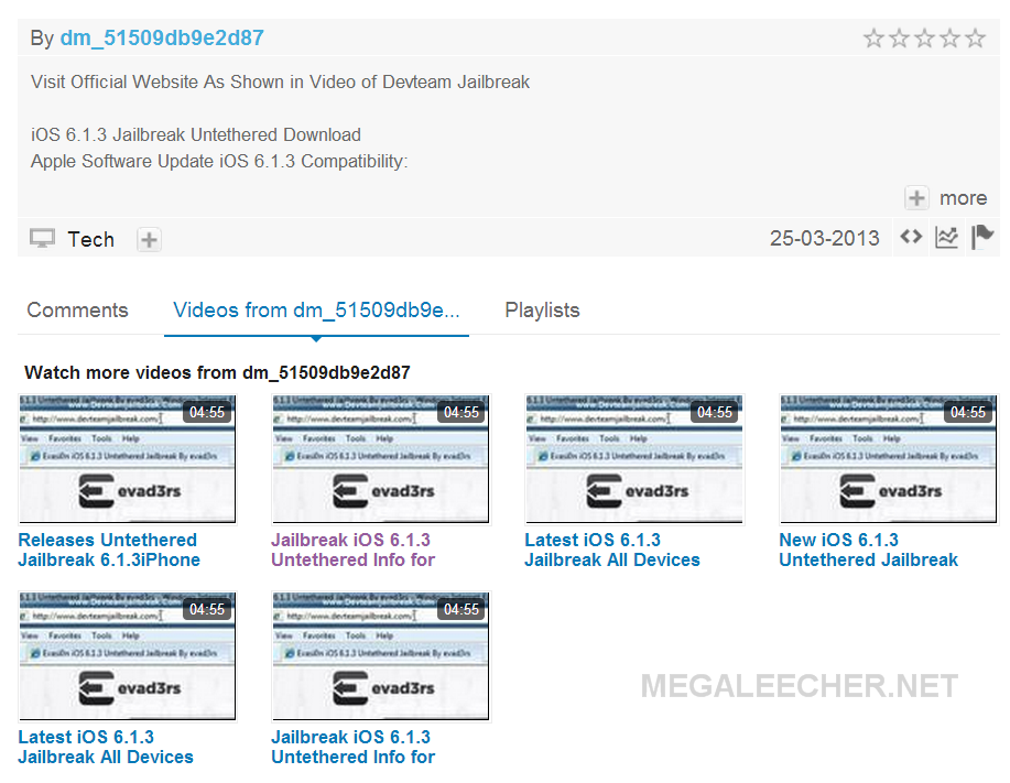 Videos explaining iOS 6.1.3 jailbreak