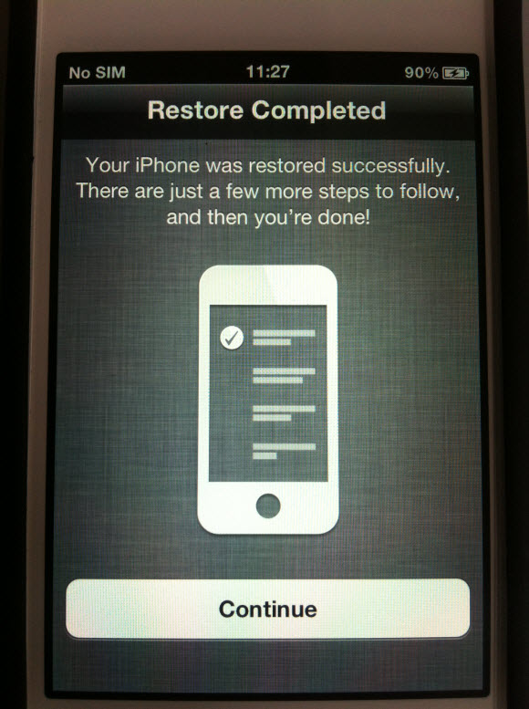 iPhone data restore completed