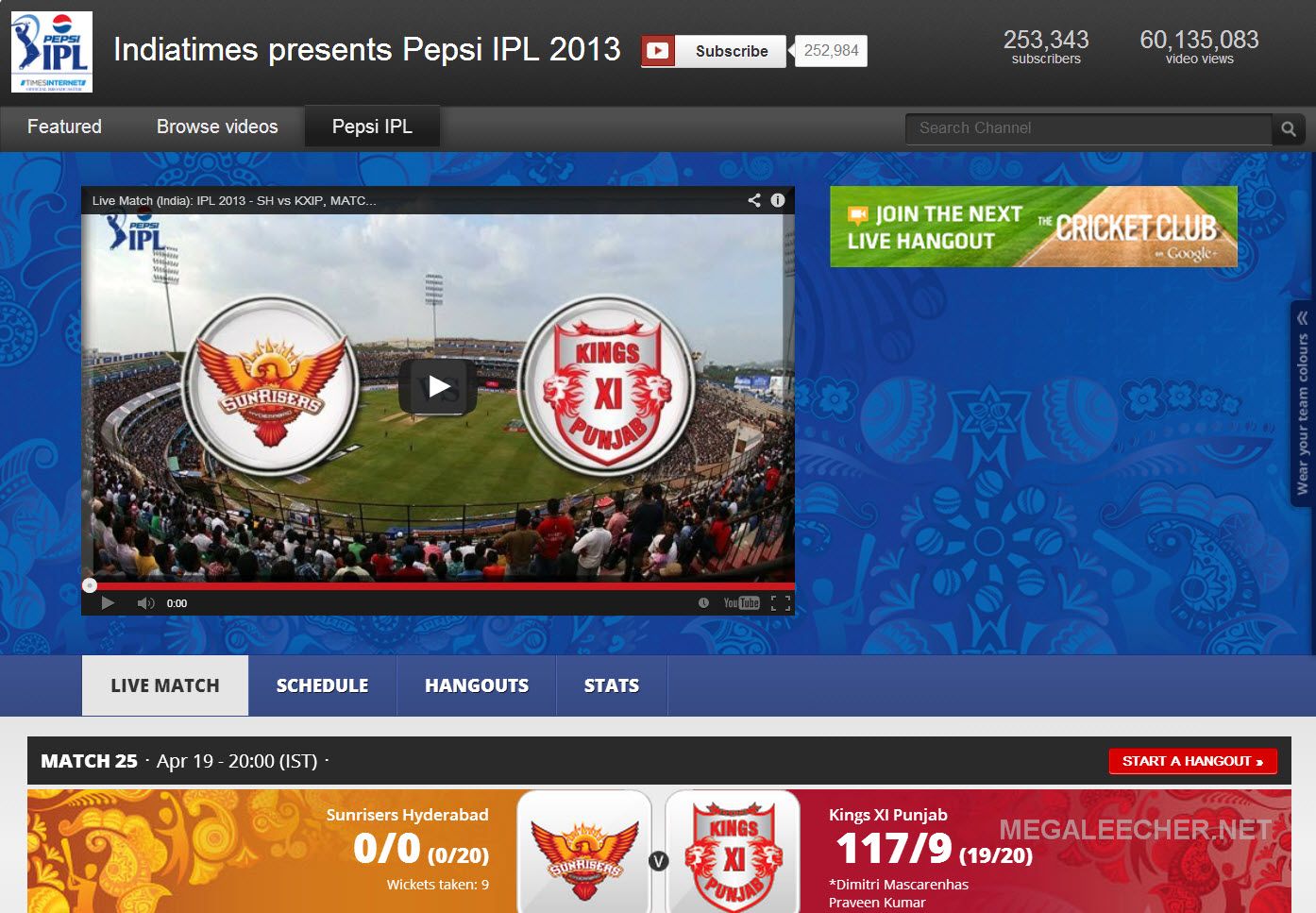 IPL 2013 Live Match on Desktop