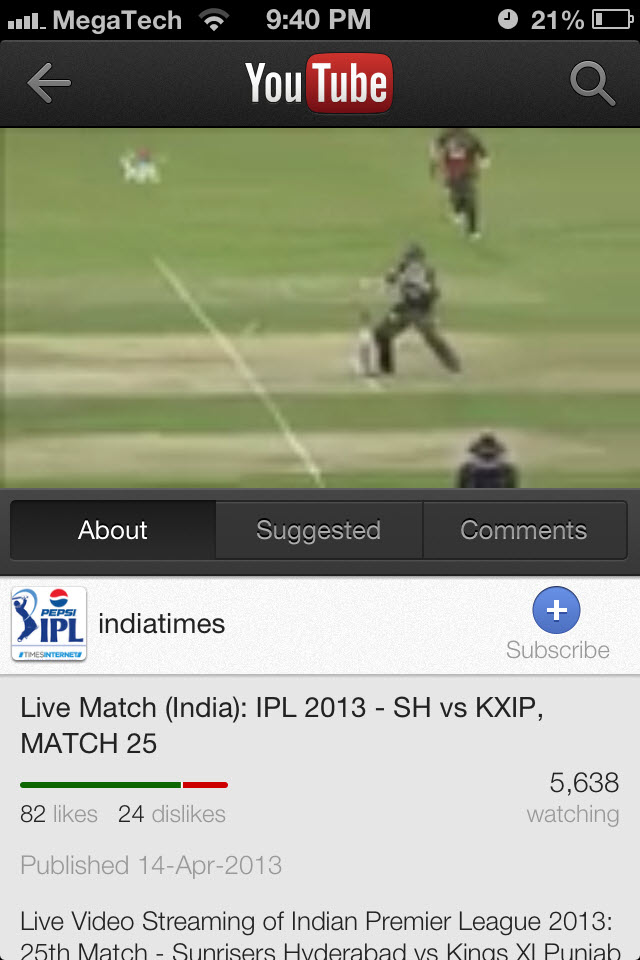 IPL 2013 Live Streaming For Mobile