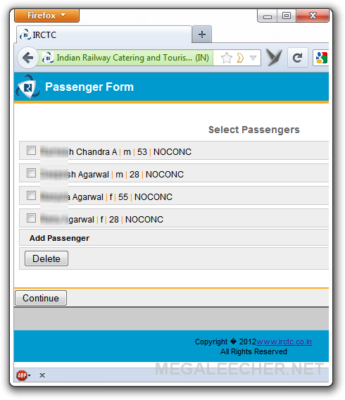 IRCTC Mobile website