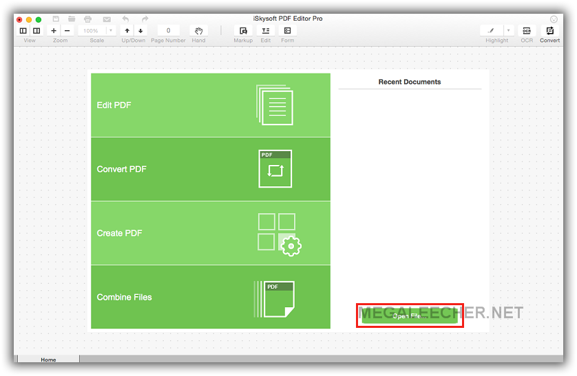 iSkysoft PDF Editor Pro for Mac Main Screen