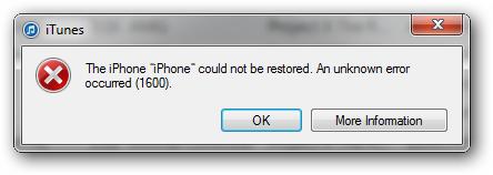 IPSW restore error 1600