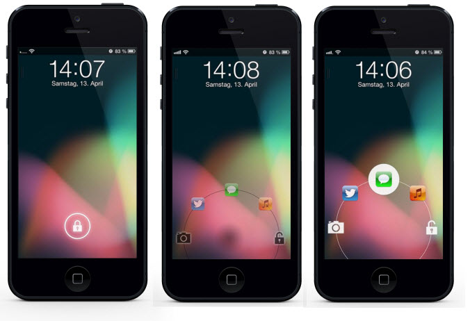 JellyLock - Android Jelly Bean Lock Screen On iPhone