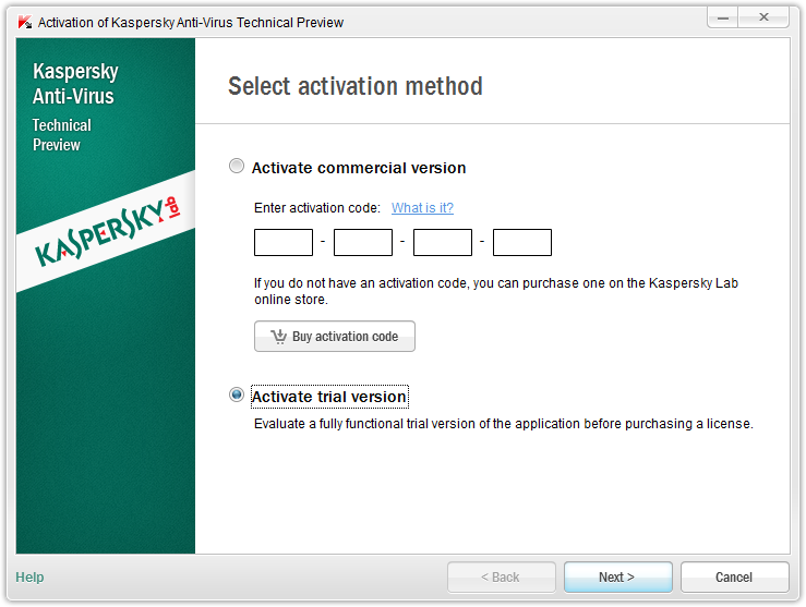 Kaspersky activation screen