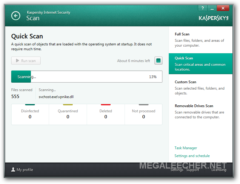Kaspersky Internet Security 2104 Scan Window