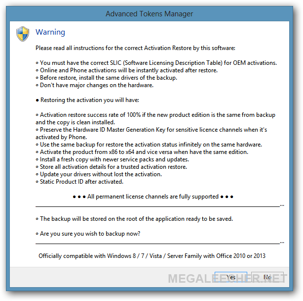 Windows 8 Activation Backup
