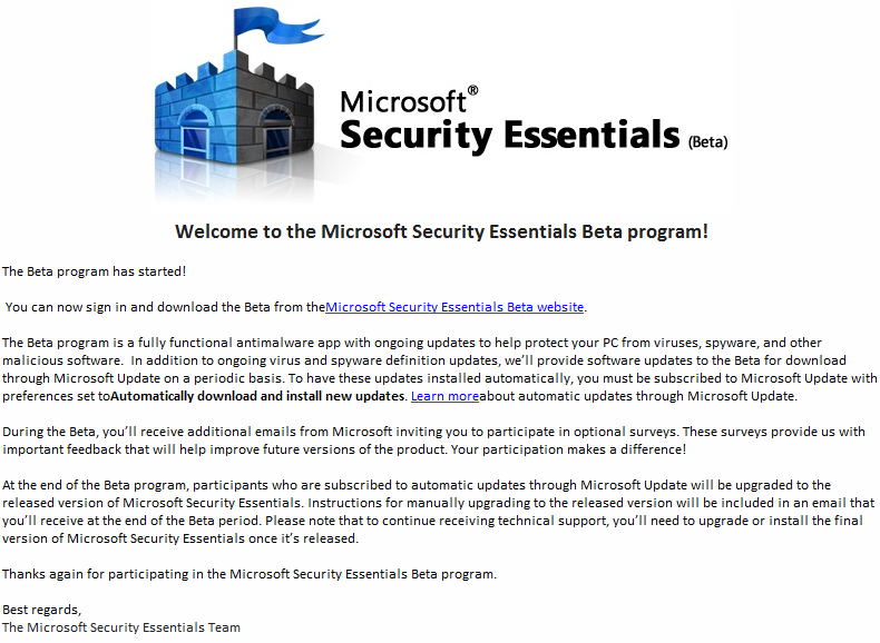 Invitation for Microsoft® Security Essentials Beta