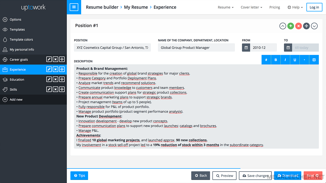 Resume Builder Interface