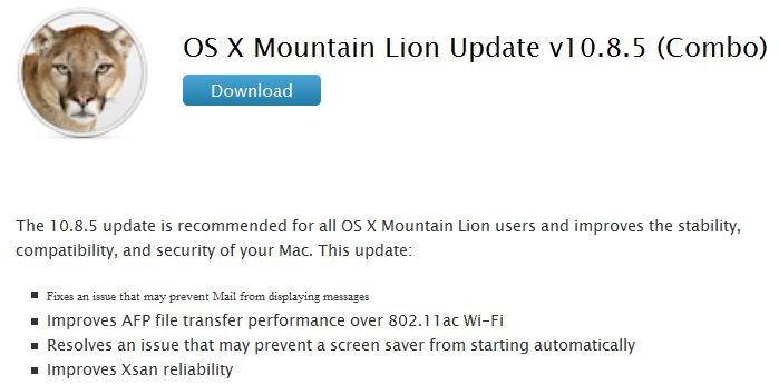 Apple OS X Mountain Lion Update v10.8.5