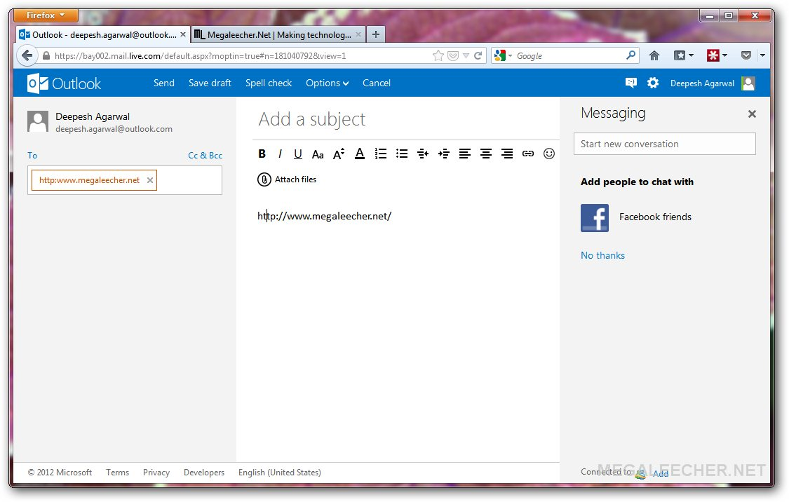 Outlook email grab