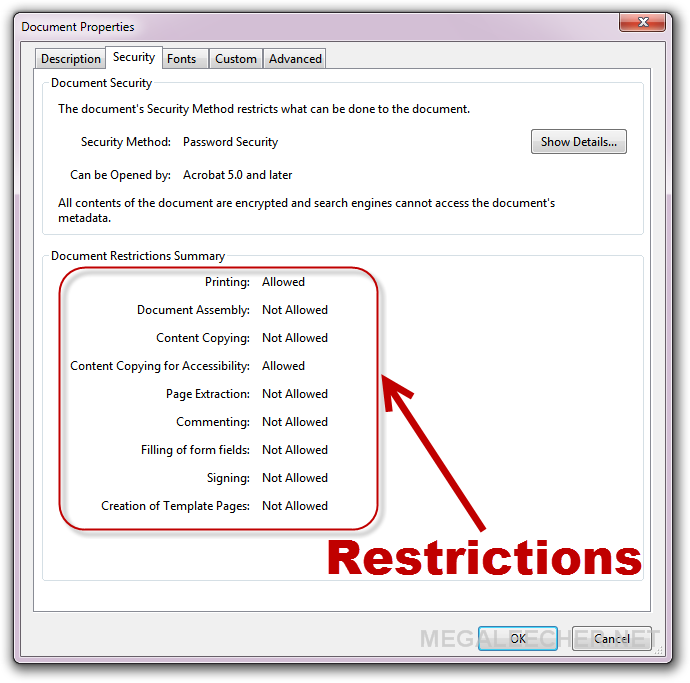 PDF with security restrictions