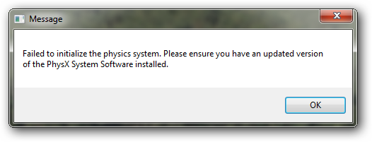 PhysX Error On ATI