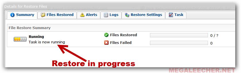 restore progress