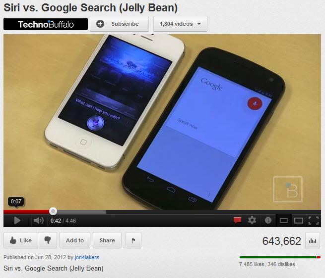 Apple Siri compared to Google Voice