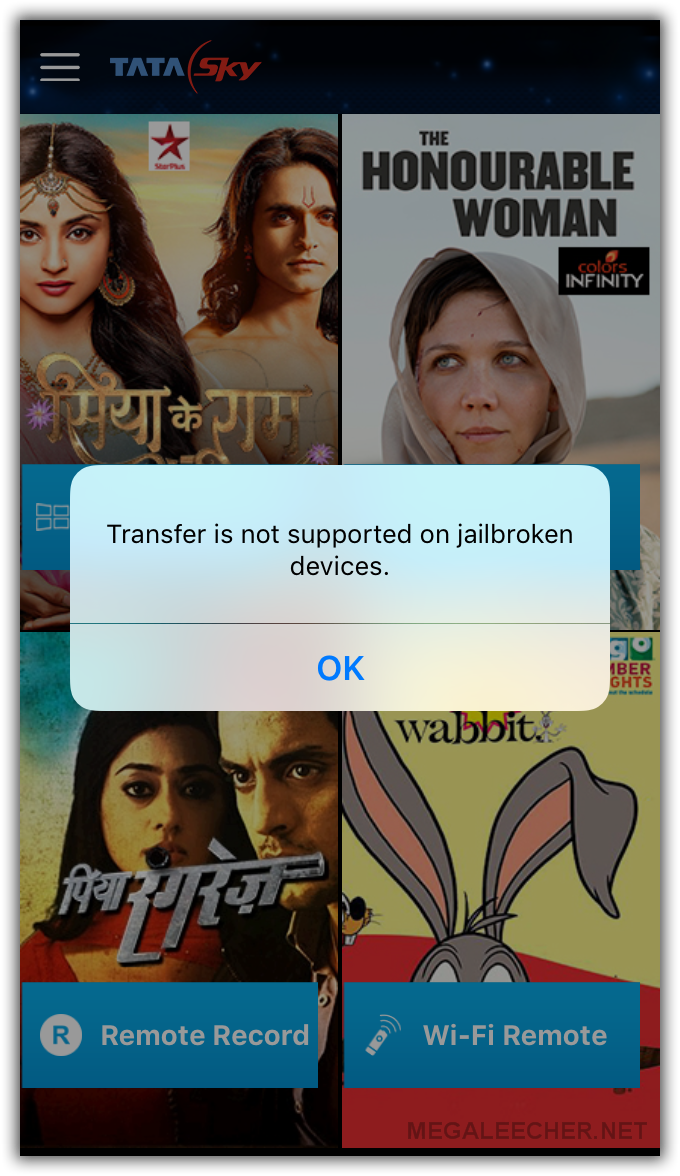 TataSky Mobile App Not Allowing Access on Jailbroken iPhone 6s With iOS 9