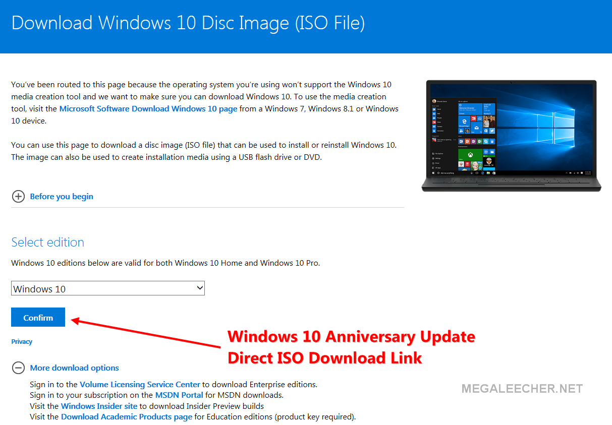 Download the ISO file of Windows 10 anniversary update