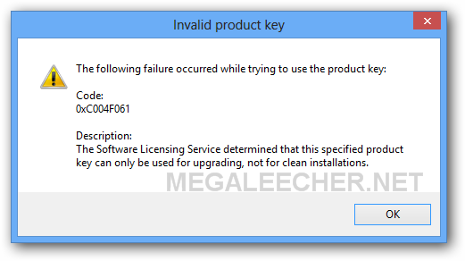 Windows 8 Upgrade key Error