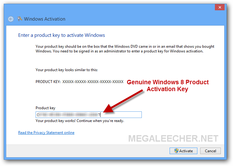 Windows 8 Genuine Activation Key
