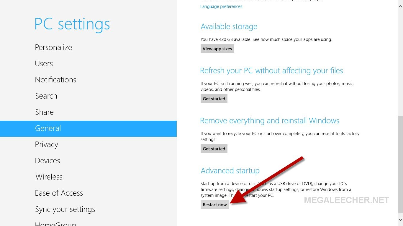 Advanced startup settings in Windows 8
