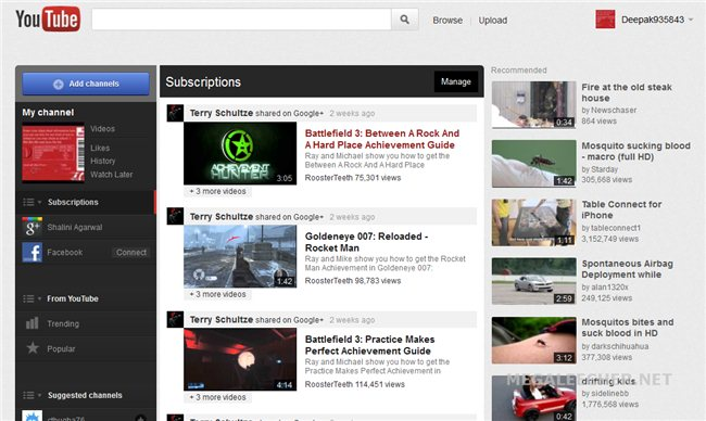 All New Youtube Homepage