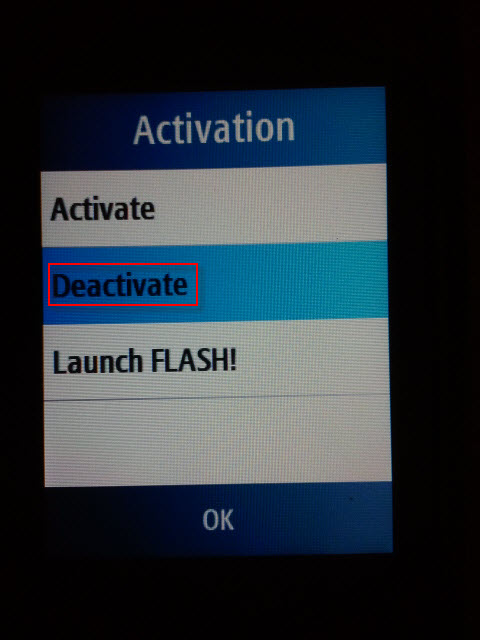 Vodafone Flash Deactivation Option