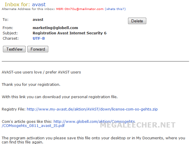 Steps to grab your free avast Internet Security 6 Activation Key file.