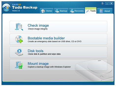 EASEUS Todo Backup Home Tools Page