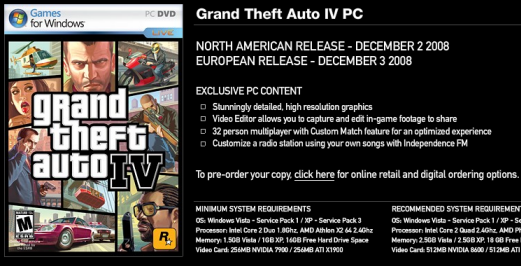 GTA IV PC Release Dates Announced | Megaleecher Net