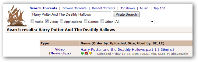 Torrent for movie Harry Potter And The Deathly Hallows : Part 1