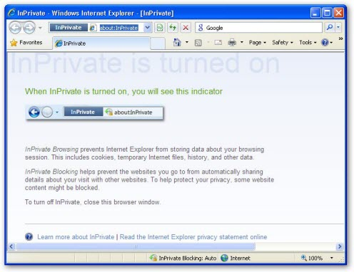 Internet Explorer 8 Private Surfing Mode