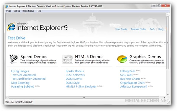 Internet Explorer 9 Main Window